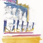Loughborough fair ride water colour sketch Peter hollis