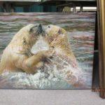 Polar bears fighting painting by Angela Gaughan
