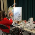 Angela Gaughan demonstrating a squirril painting at Charnwood Painting and Drawing Club