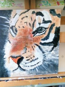 Di Cave Tiger painting acrylic