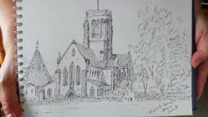 Joy Lockton - Mt St Bernards Abbey pen sketch