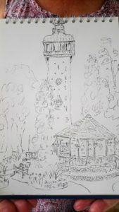 Joy Lockton - Queens Park, Loughborough pen sketch