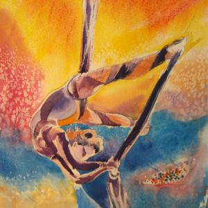 Acrobat painting by Penny Clay