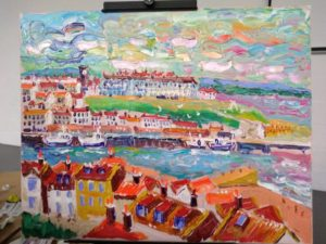 whitby landcape painted with acrylic and a pallet knife by Tas Severis